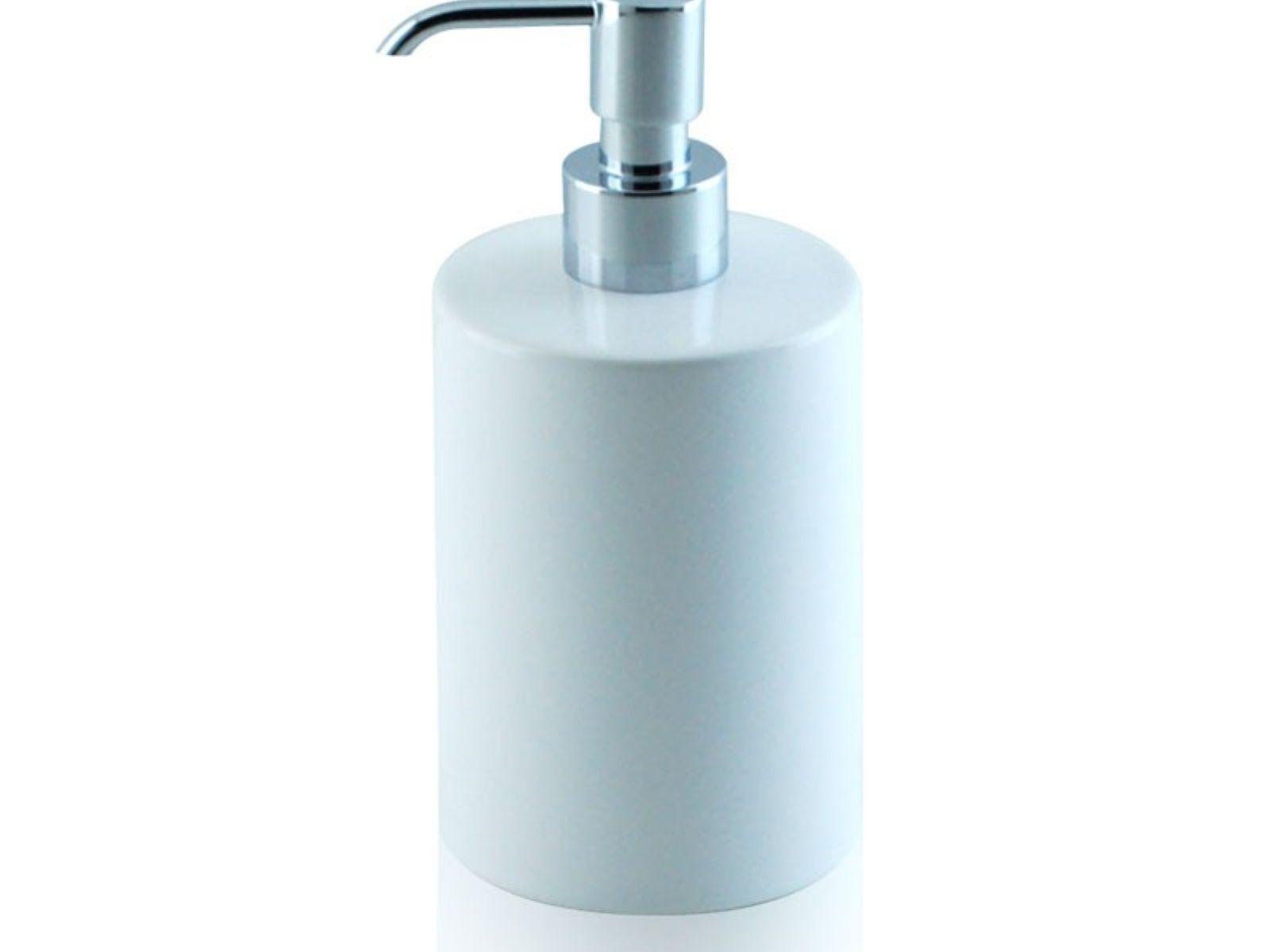 Round liquid soap dispenser in ceramic and chrome-plated brass ...