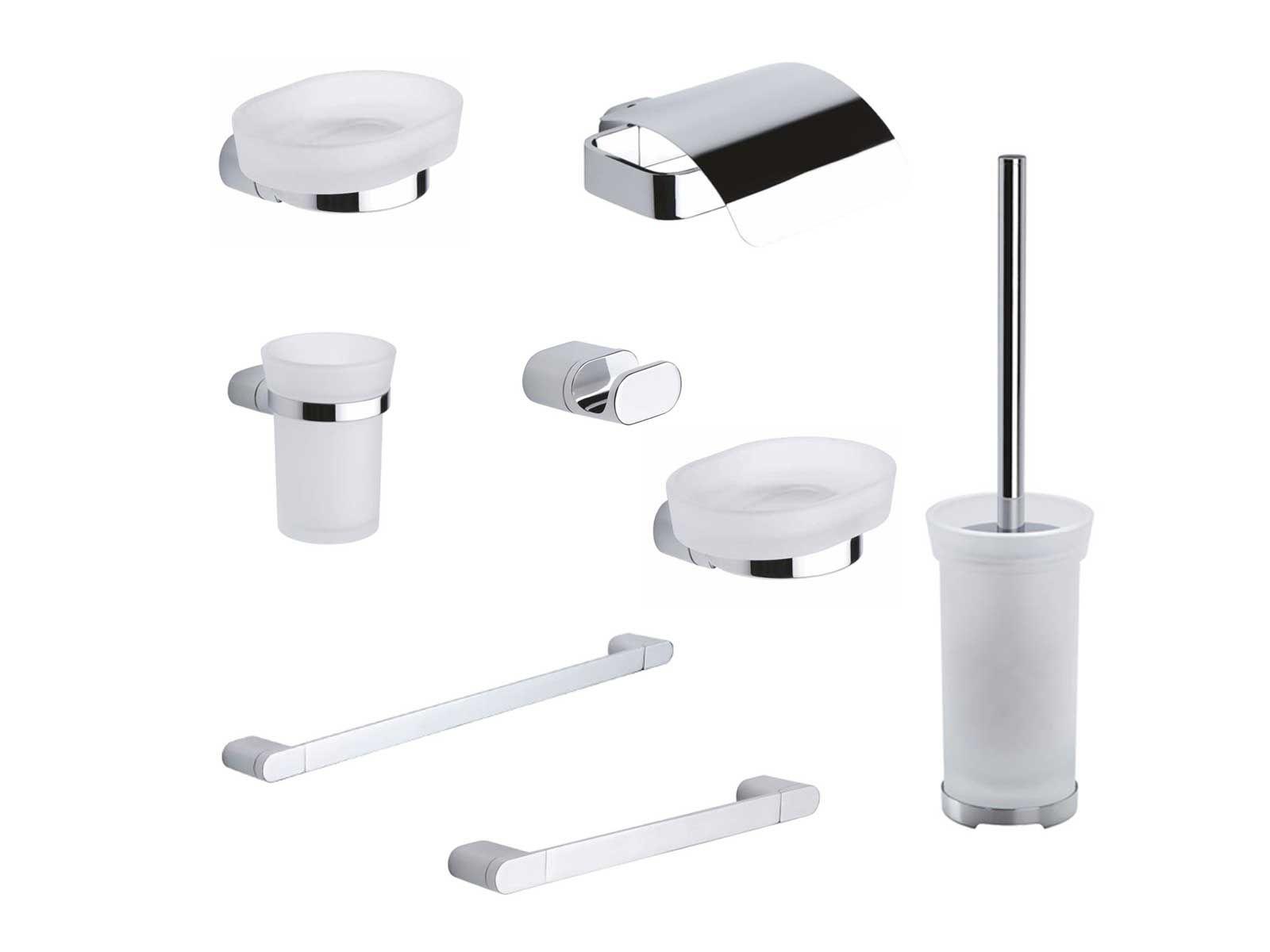 Kit accessori bagno mida 8 pezzi metaform for Kit accessori bagno
