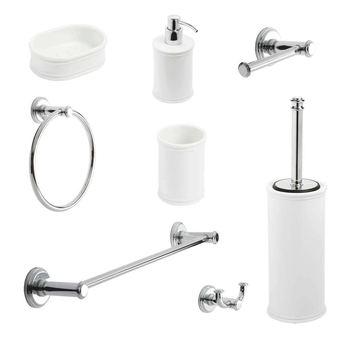Kit accessori bagno impero 8 pezzi metaform for Accessori lavandino bagno