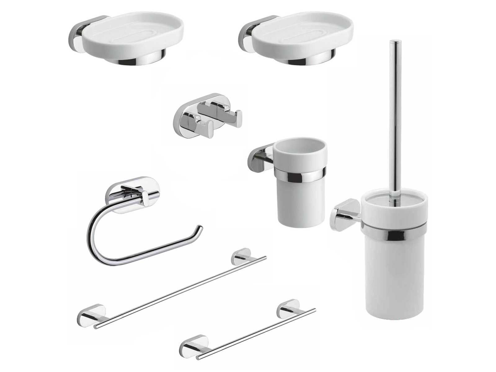Kit accessori bagno louise 8 pezzi metaform for Accessori lavandino bagno