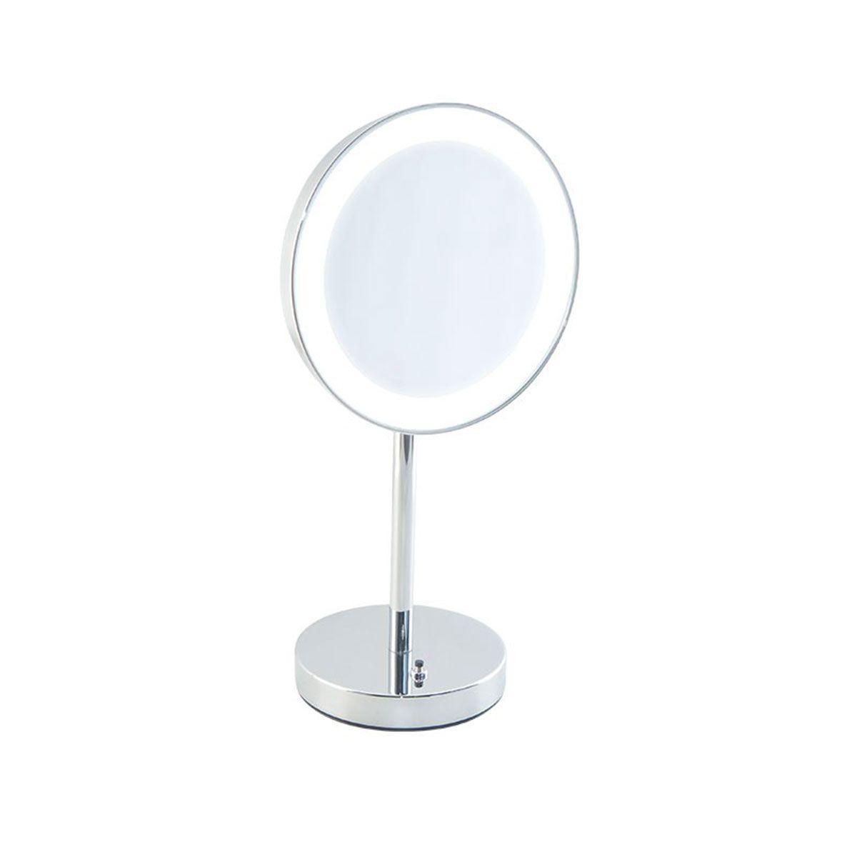 Specchio ingranditore da bagno con luce led batteria da appoggio bottiglioni - Specchio ingranditore con luce ...
