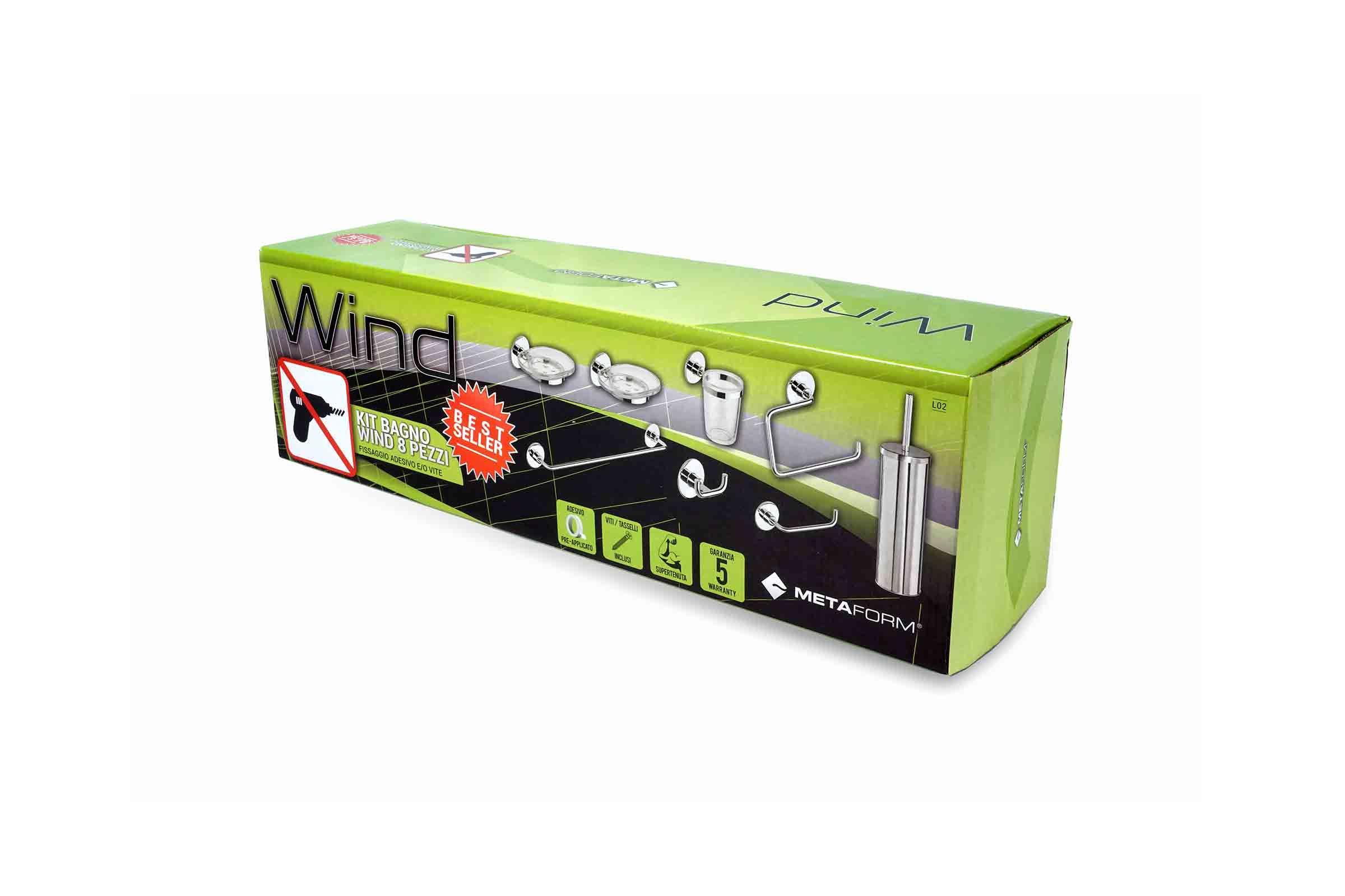 Kit accessori bagno wind 8 pezzi metaform for Kit accessori bagno
